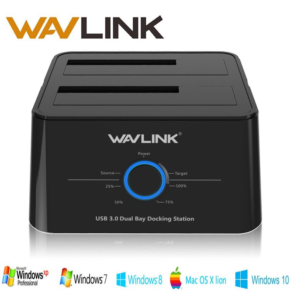 Wavlink 2.5 3.5 USB 3.0 SATA Disque Dur Externe Station D'accueil Double Bay Boîtier Externe Pour Disque Dur 2*8 TO HDD SSD CAS