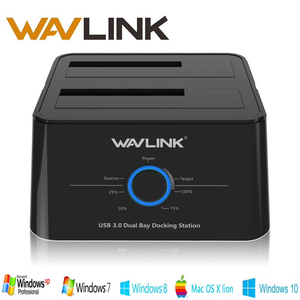 Wavlink USB 3.0 hdd Enclosure Dual Bay External Hard Drive Docking Station 2.5/3.5 SSD SATA 1/2/3 Enclosure For 2*8 TB HDD Case