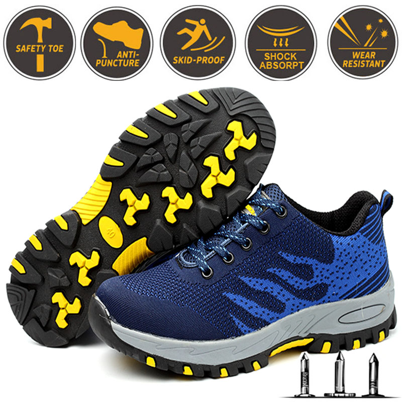 Men Women Anti-smashing Lightweight Breathable Steel Toe Fashion Work Safety Shoes Outdoor Construction Shoes Large Size