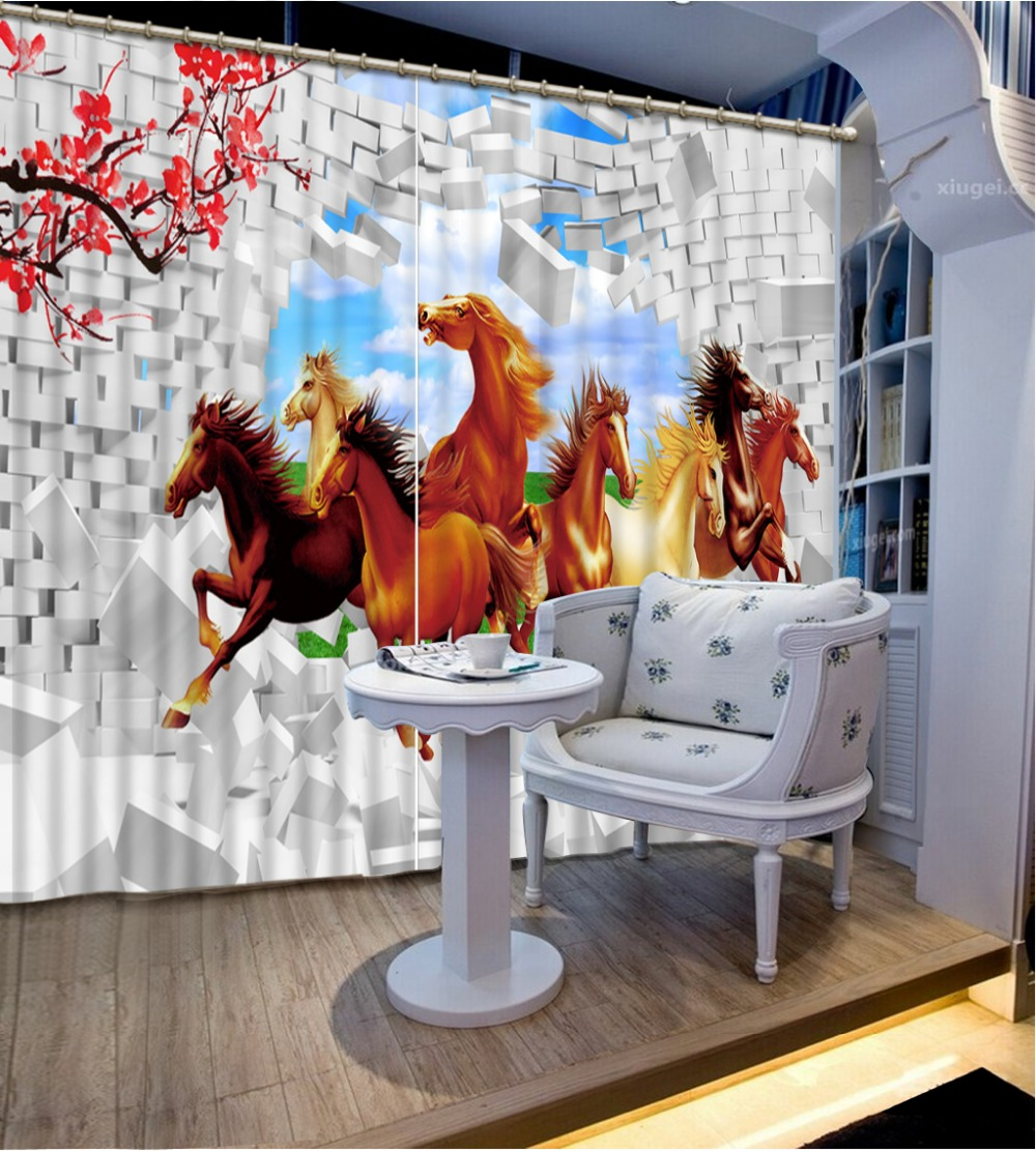 Photo Customize Size Brick Horse Custom Curtain Fashion Decor Home Decoration For Bedroom Living Room