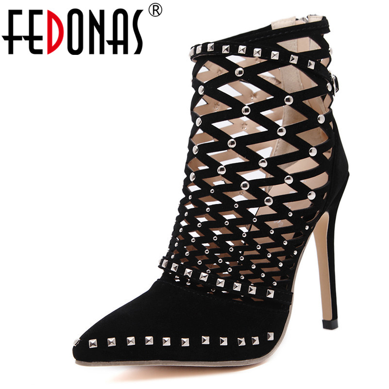 FEDONAS Women Fashion High Heels Sandals 11CM Thin Heel Rivets Summer Wedding Party Shoes Woman Fashion Prom Shoes Sandals women shoes sexy feather thin heels sandals fashion super high 11cm women sandals party shoes high heels sandalias mujer fashion