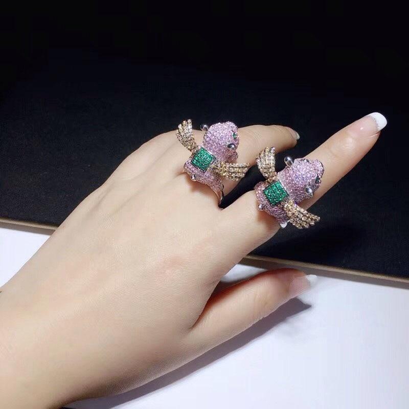 Anillos Qi Xuan_Trendy Jewelry_Pink Flying Pig Élégant Femme Rings_S925 Solide Ruban De Mode Rings_Manufacturer Directement Ventes