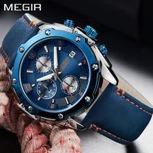 2018 Nuevo Megir Cronógrafo Hombres Reloj de primeras marcas de lujo Correa de cuero azul Deportes Relojes de pulsera de cuarzo Hombres Reloj de pulsera de negocios
