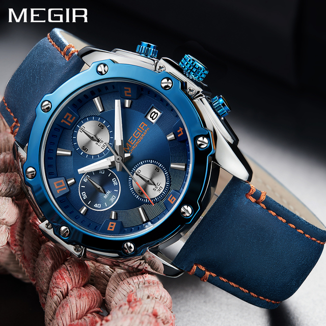 Megir 2018 New Fashion Mens Watches Top Brand Luxury Blue Leather Band Wrist Wat