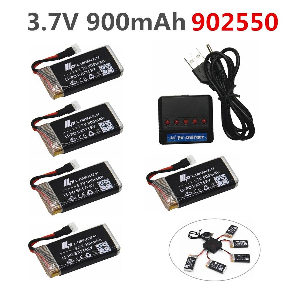 Limskey 900 mah 3,7 v LiPo Batterie für SYMA X5C X5SC X5SW batterie mit Ladegerät RC Drone 3,7 v 900 mah Lipo Batterie 902550