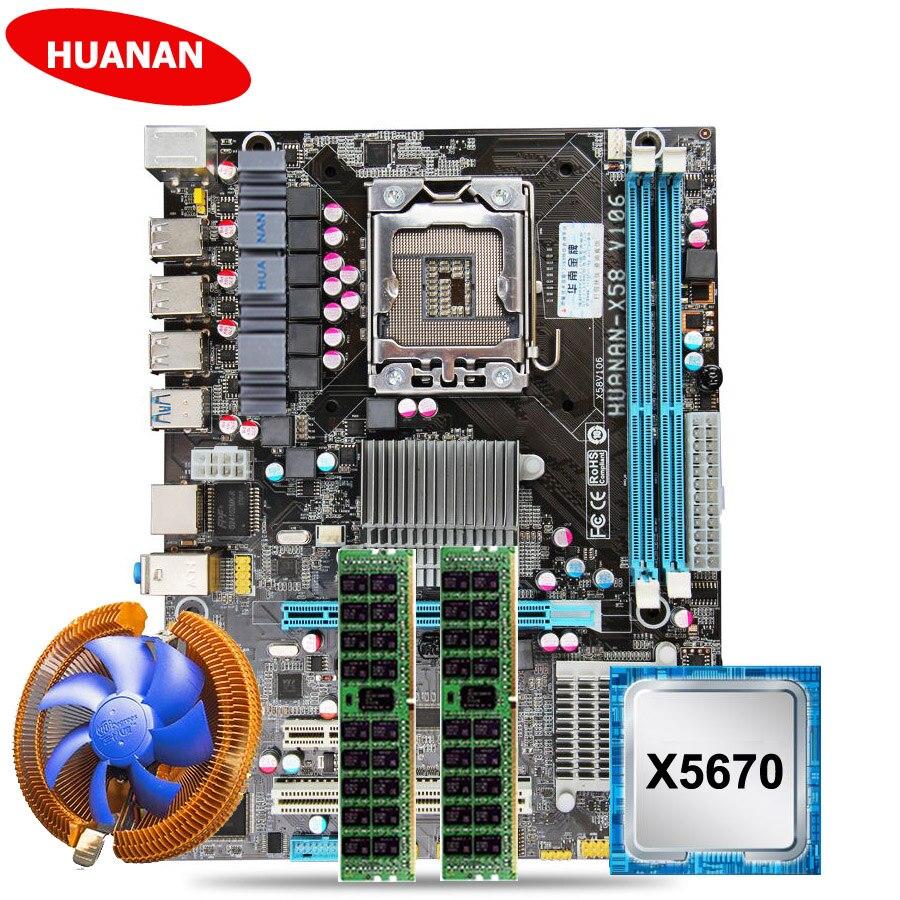 Hot HUANAN X58 motherboard CPU RAM set with CPU cooler USB3.0 X58 LGA1366 motherboard CPU Xeon X5670 RAM (2*8G)16G DDR3 RECC