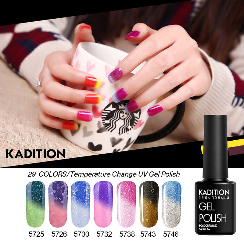 Kadition Baru Termal Gel Polandia Perubahan UV Rendam Off Pernis Thermo Gel Lacquer Hybrid Semi Permanen Chameleon Gel Polandia 8 Ml