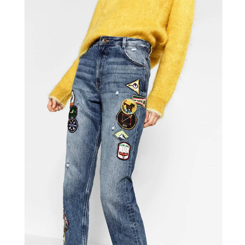 ФОТО 2017 Spring Vintage Women Straight Jean Patch Design Light Blue Denim Trousers Zipper Pockets Slim Jeans Plus Size DWDD8231