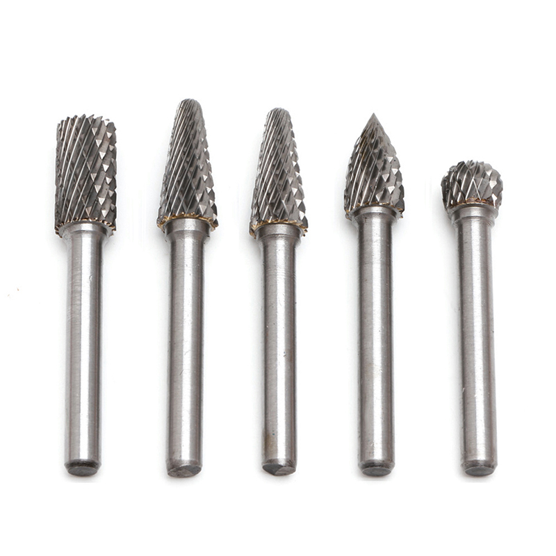 5Pcs 1/4 Tungsten Carbide Burr Bit 6mm Rotary Cutter Files CNC Engraving Tool Nice Gifts