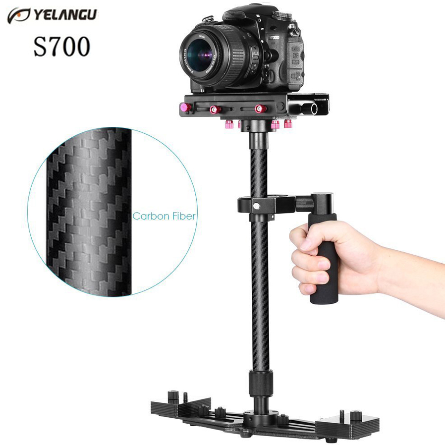 YELANGU S700 68cm Professional Portable Carbon Fiber Mini handheld Camera Stabilizer for DSLR Camcorder Video camera Steadicam yelangu s40t professional carbon fiber handheld stabilizer steadicam for canon dslr camera dv camcorder sports camera