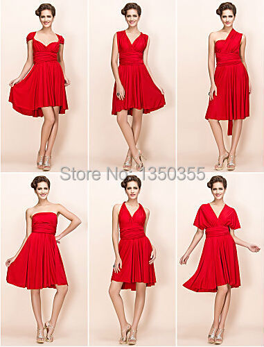 Short Bridesmaid Dress Red V Neckline Empire Waist Knee Length Convertible