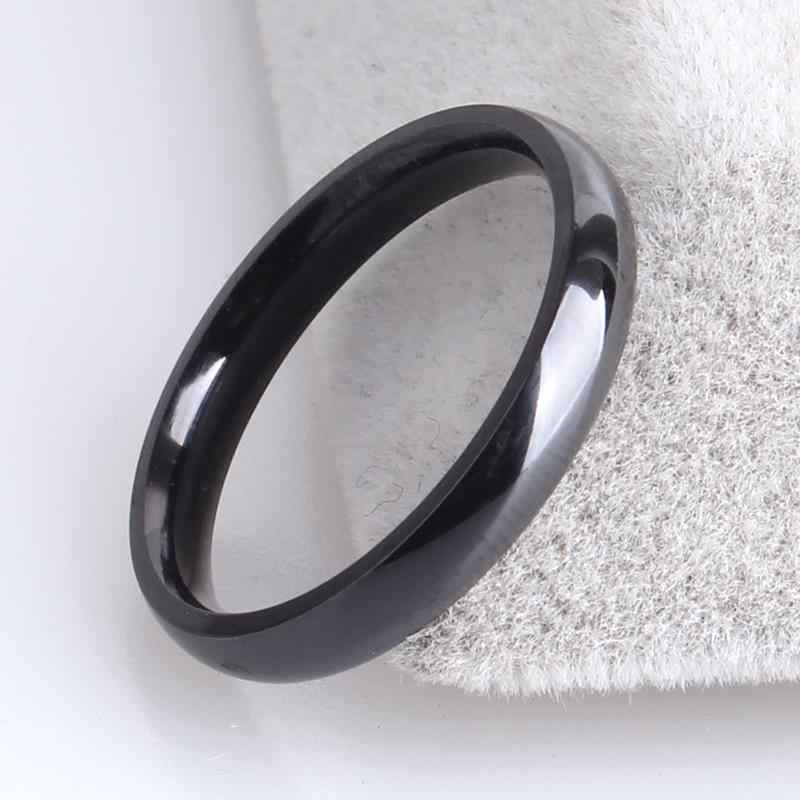free shipping 3mm black smooth inner sphere 316L Stainless Steel wedding rings for women wholesale