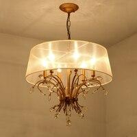American Style K9 Crystal Chandelier Gold Bedroom Chandelier With Lampshade Lighting Fixtures Living Room Suspension 110V