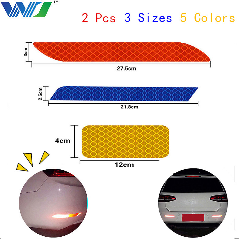 WJ 2Pcs 3 Size 5 Colors Tape Reflective Strips Stickers The Bumper Car Sticker Brand Car Decal Sticker Car Accessories Styling 16 strips motorcycle accessories 7 colors car styling decals 17 or 18 inch car stickers wheel rim sticker reflective tape