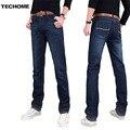 2016 новые мужские джинсы брюки упругие средней высоты прямые мужская одежда топы брюки темно-синий повседневные брюки прохладный натяжные мужчин джинсы