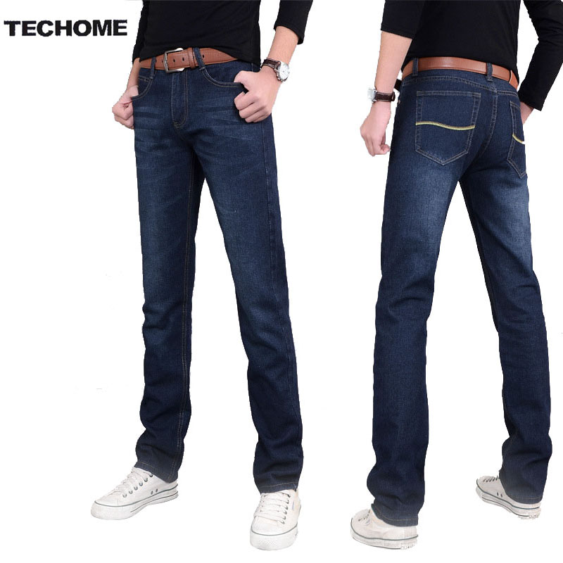 2016 new mens jeans pants elastic mid-rise straight men clothing tops trousers deep blue casual trousers cool stretch men jeans