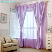 Lila/Grün Jacquard Vorhang Drapieren Sheer Tüll Jalousien Vorhänge für Kinder Schlafzimmer Wohnzimmer Fenster Behandlung Angepasst