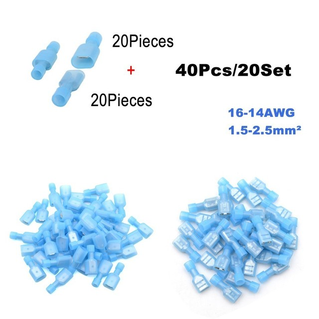 40Pieces 20Set Bullet Flag Wire electrical Connector Male Female Crimp Insulation Nylon Cable Terminals FRD MPD Car Terminator