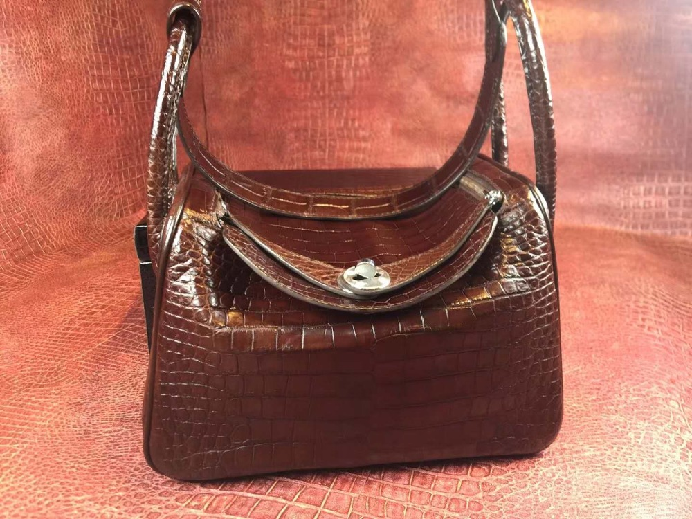 Top quality 100% genuine real crocodile leather belly skin women tote handbag coffee brown color classic design excellent skin цена
