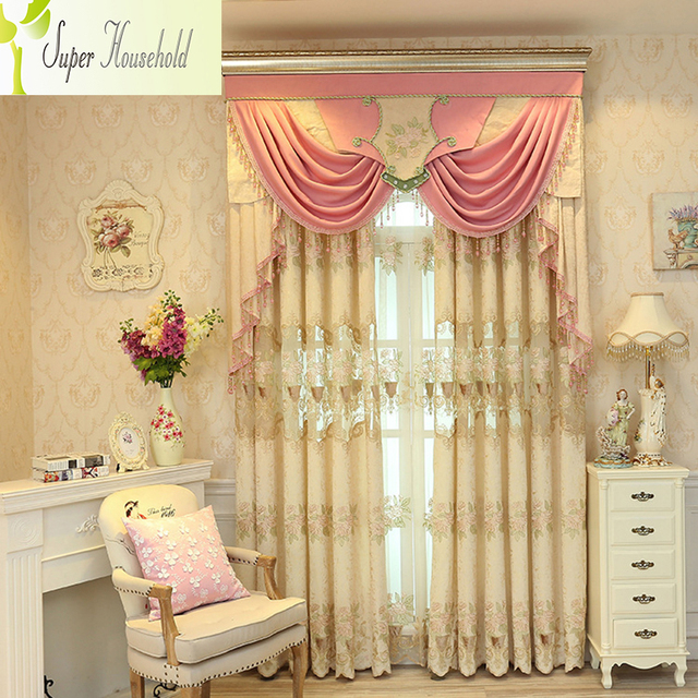 1 PC Elegant Jacquard Curtains for Living Room Chenille Door Curtain Kitchen Embroidered Curtains for Bedroom ( Without Valance)