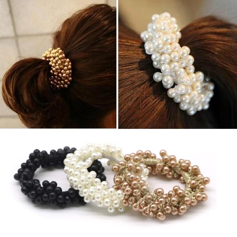 1pcs Fashion Women Girls Elastic Rubber Band Pearl Headband Rubber Small Fresh Flower Beaded Pearl Band Ponytail Holder   Headwear