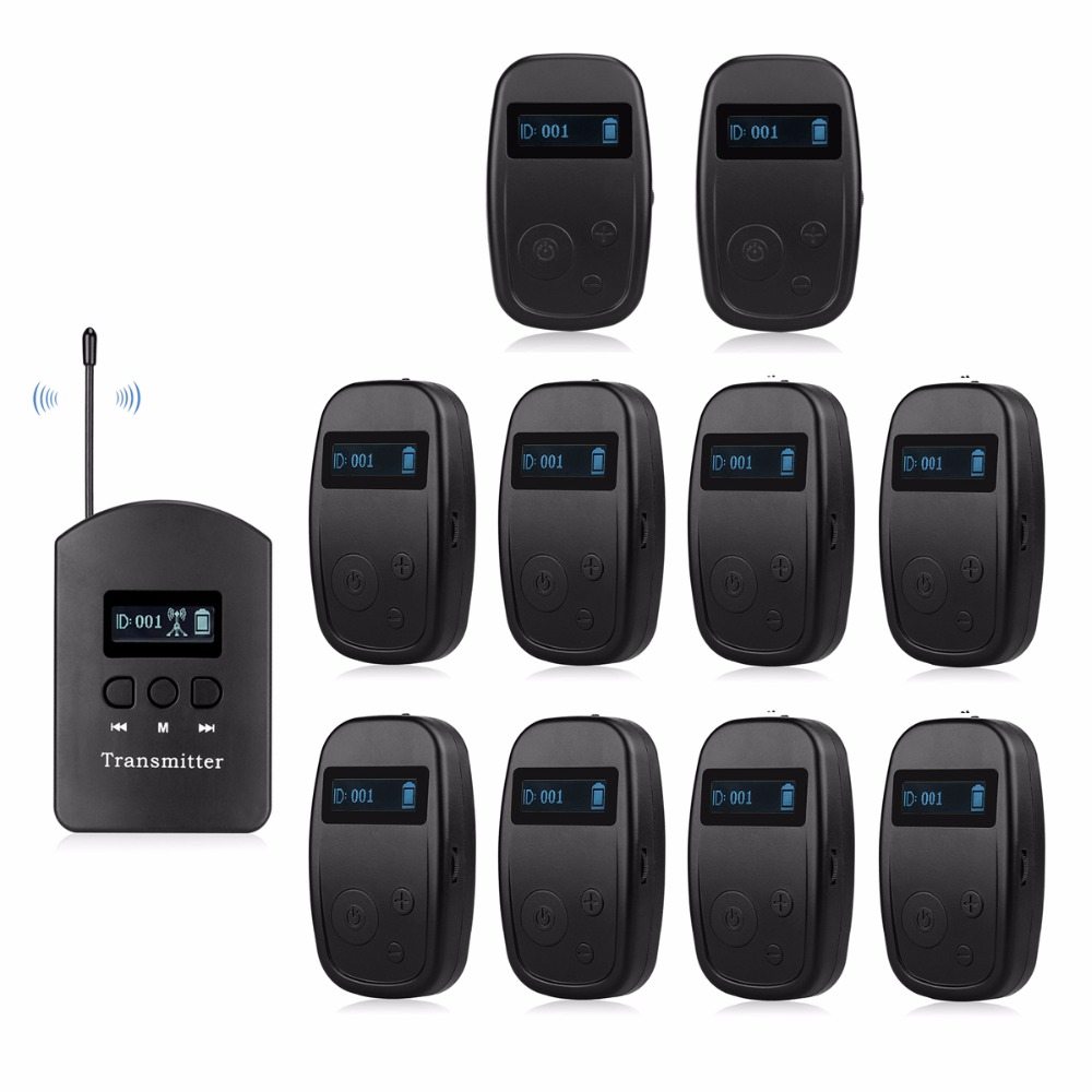 1 Transmitter ++10 receivers UHF Professional Wireless Tour Guide System For Listening Teaching Conference Interpretation F4525A niorfnio portable 0 6w fm transmitter mp3 broadcast radio transmitter for car meeting tour guide y4409b