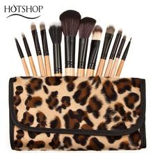 12 PCS Pro Makeup Brush Set  Natural Wooden Handle Cosmetic Tool Leopard Bag Beauty Brushes Powder foundation brush kits