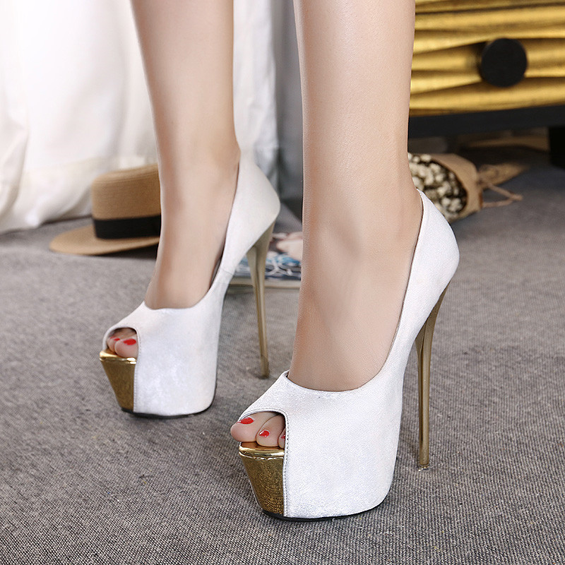 Hot Women 16cm Platform Stiletto Thin High Heels Sexy Open Toe Woman Nightclub Pumps Shoes Fashion Ladies Wedding Party Shoes high heels