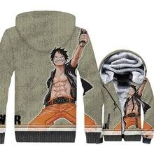 2019 winter men thick rib sleeve Anime one piece coats streetwear hip-hop brand tracksuits wool liner jacket 3D Print hoodies pp