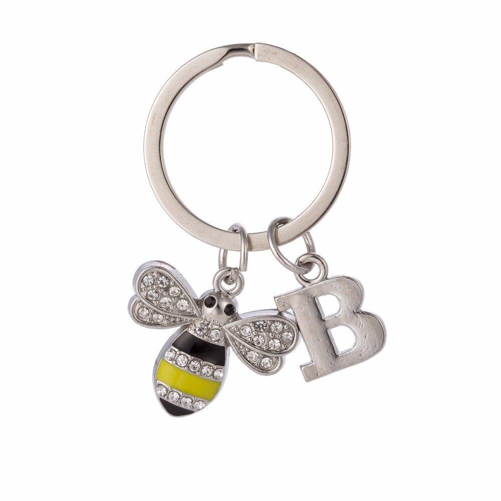 Teamer Crystal Keychain Silver Letter Keyring Custom Key