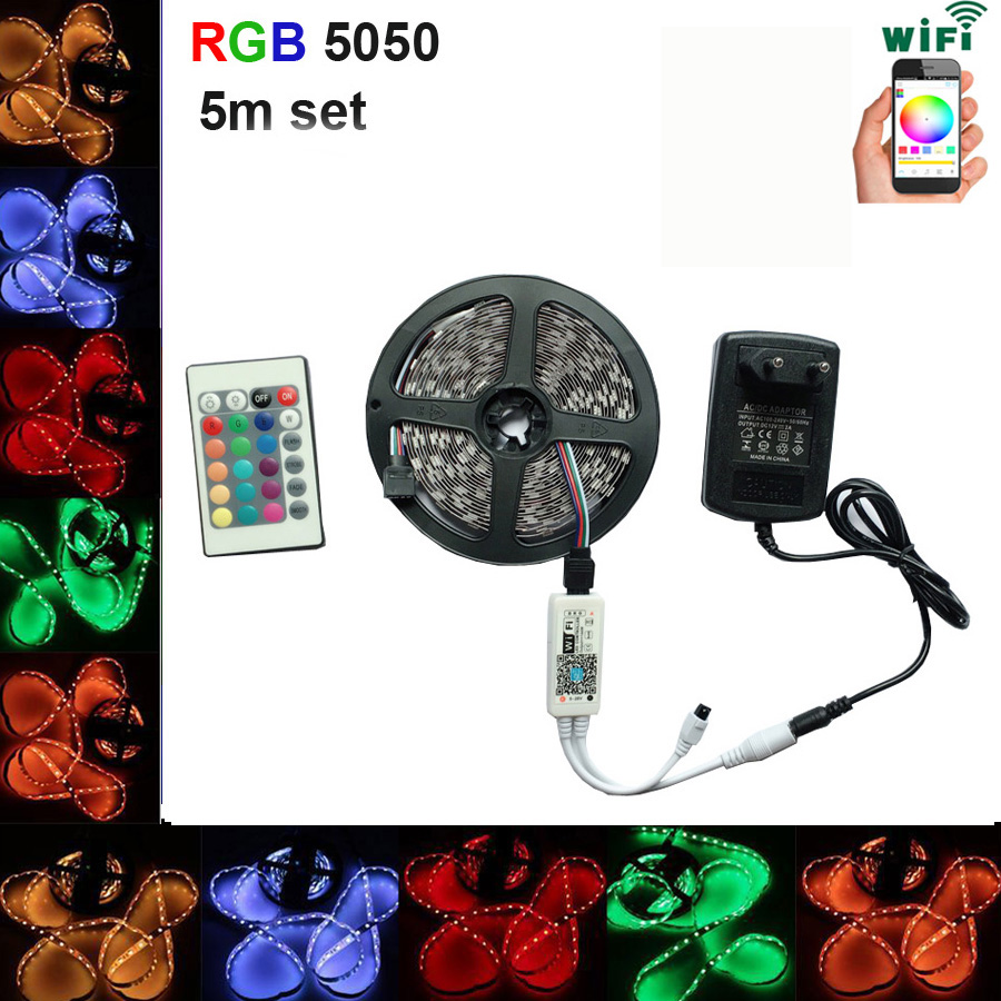 все цены на Main light bar 5050 RGB waterproof 60 / m IP65 5 m LED light diode Ribbon SMD 5M to 20M 12 V soft light 24 k wifi remote control онлайн