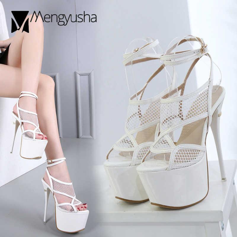 Seksi kesme hava mesh gladyatör sandalet 16 cm extreme yüksek topuklu ayakkabılar kadın çapraz bağlı kristal topuklu platformu sandalias mujerc591
