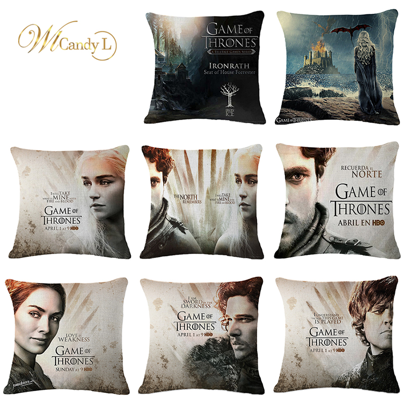 WL Candy L Game Of Thrones Cushion Cover Linen Sofa Home Decorative 45*45CM Throw Pillow Cover Funda Cojin Housse De Coussin