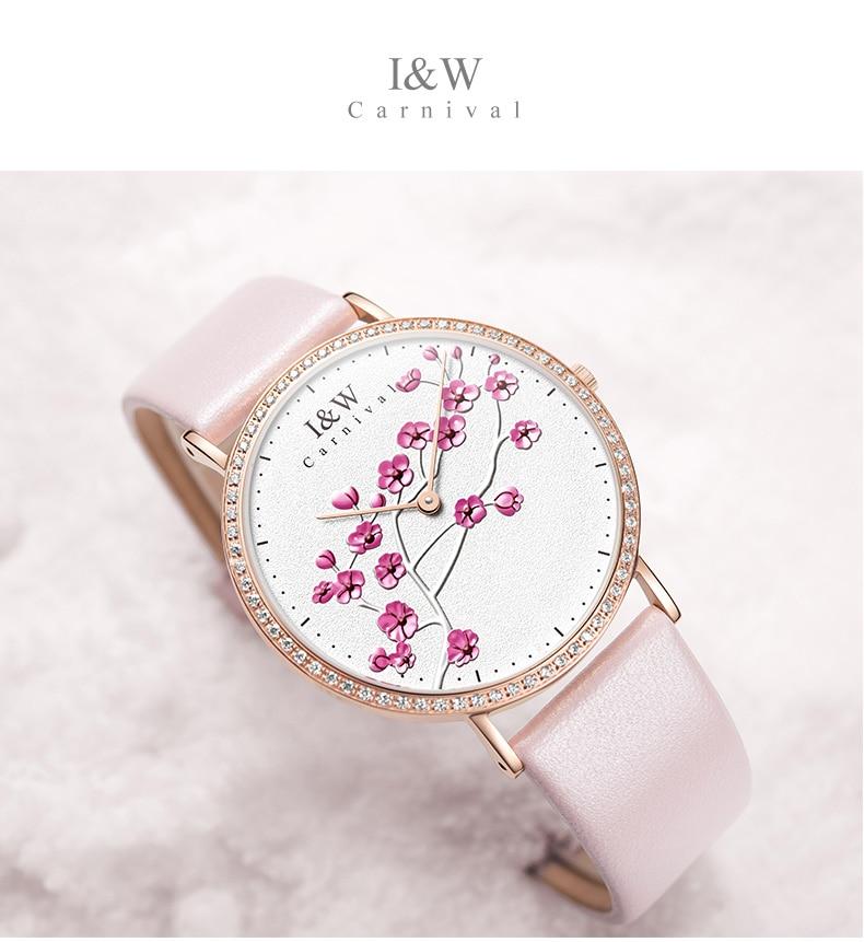 Carnaval IW véritable mode à la mode montre pour femme Simple en cuir montre à Quartz montre pour femme mince étudiant collège littéraire montre - 6