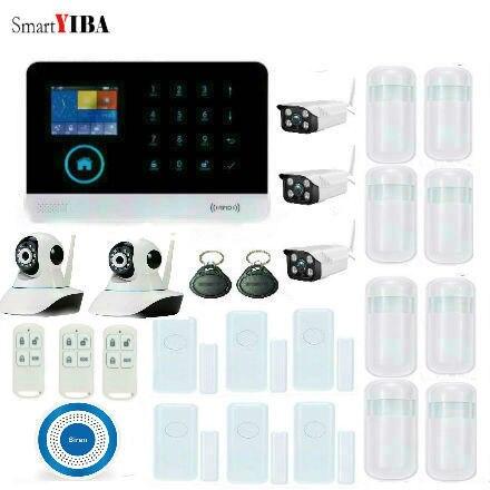 SmartYIBA 3G SIM Wireless Home Security Protection System WIFI WCDMA Alarm System Kits Surveillance Cameras Sensors