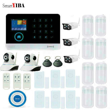 SmartYIBA 3G SIM Wireless Home Security Protection System WIFI WCDMA Alarm System Kits Surveillance Cameras Sensors Detectors