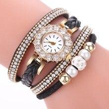 Women Bracelet Wristwatch Luxury Gold Winding Strap Watch for Women Pearls Dress