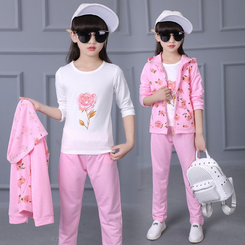 Children Clothing Sets Hooded Toddler Kids Clothes Girls Jacket Pants Suit Spring Costume Kids Coats Sport Suit Flowers Zipper