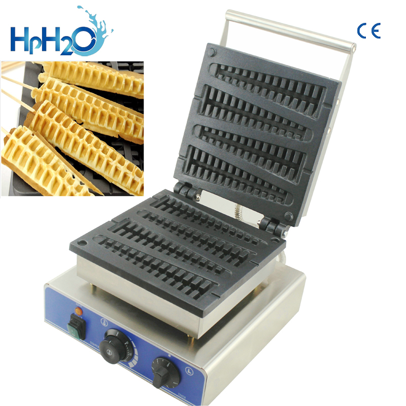China popular lolly sticks waffle maker machine lolly waffle iron brussels waffle make Christmas Tree Waffle Machine lolly waffle baker commercial snack machine stainless steel tower shaped lolly waffle machine with six pcs lolly waffle moulds