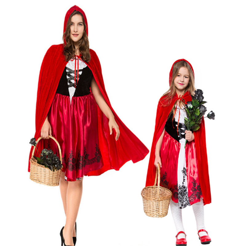 new Little Red Riding Hood Costume for Women girl parent-child clothing Halloween Mother Daughter Cosplay Fantasia Dress+Cloak