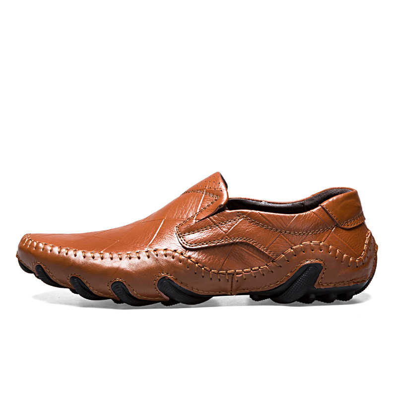 Mannen Lederen Flats Schoenen 2017 Lente Herfst mannen Boot Schoen Blauw Toevallige Loafers Elegante Moccasin Leisure Schoeisel