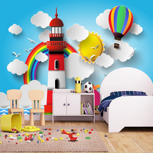 Photo wallpaper 3d stereo blue sky and white clouds rainbow hot air balloon cartoon mural kids
