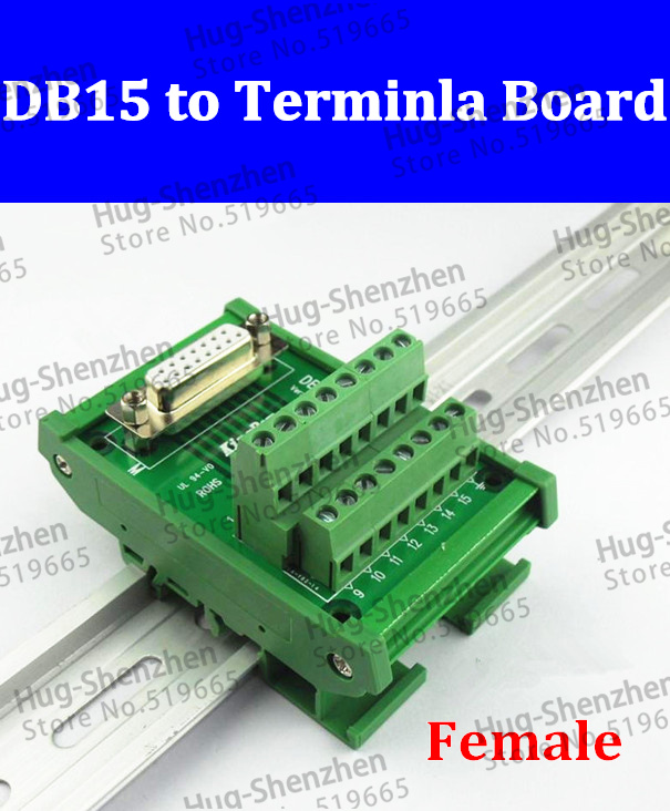 DB15 female D-SUB 15 Pin Port Signals Breakout PCB Board Screw terminal Adapter connector DR15 with housing 15 000743[d sub standard connectors d sub 15 male r a] mr li