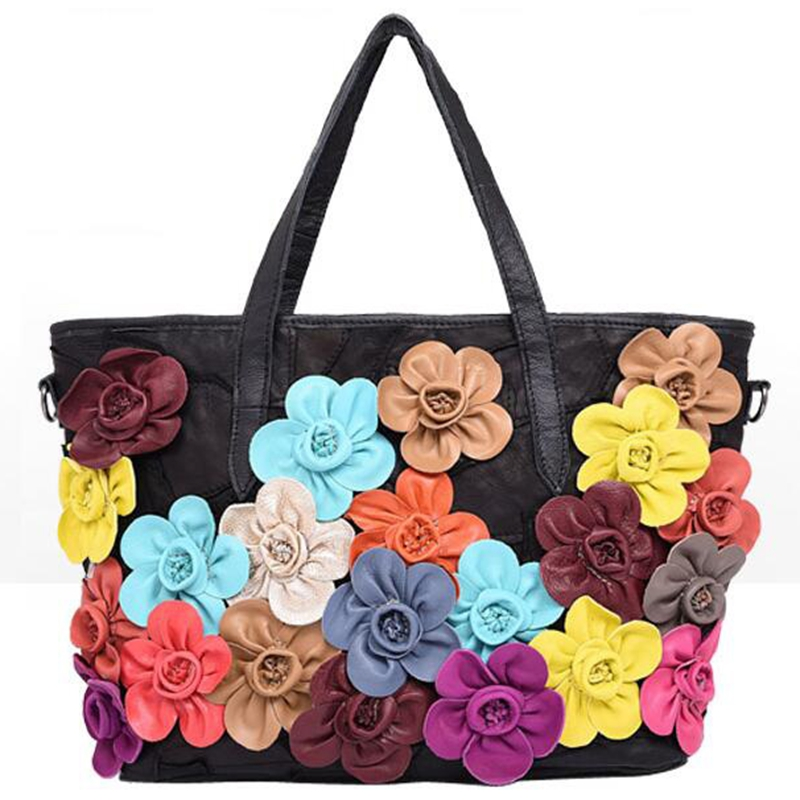 High Quality Female Genuine Leather Bag Colorful Flower Women Handbag Famous Brands Messenger Bags ladies shoulder bags WZ-1842 high quality authentic famous polo golf double clothing bag men travel golf shoes bag custom handbag large capacity45 26 34 cm