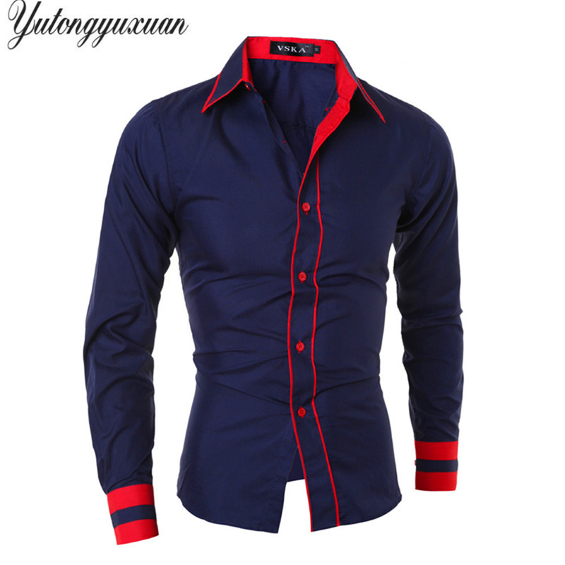 2017 Full Solid Cotton M-xxl Men Slim Fashion Shirt Casual Long Sleeve Stripes Chemise Homme Camisa Masculina Male Wedding Tops