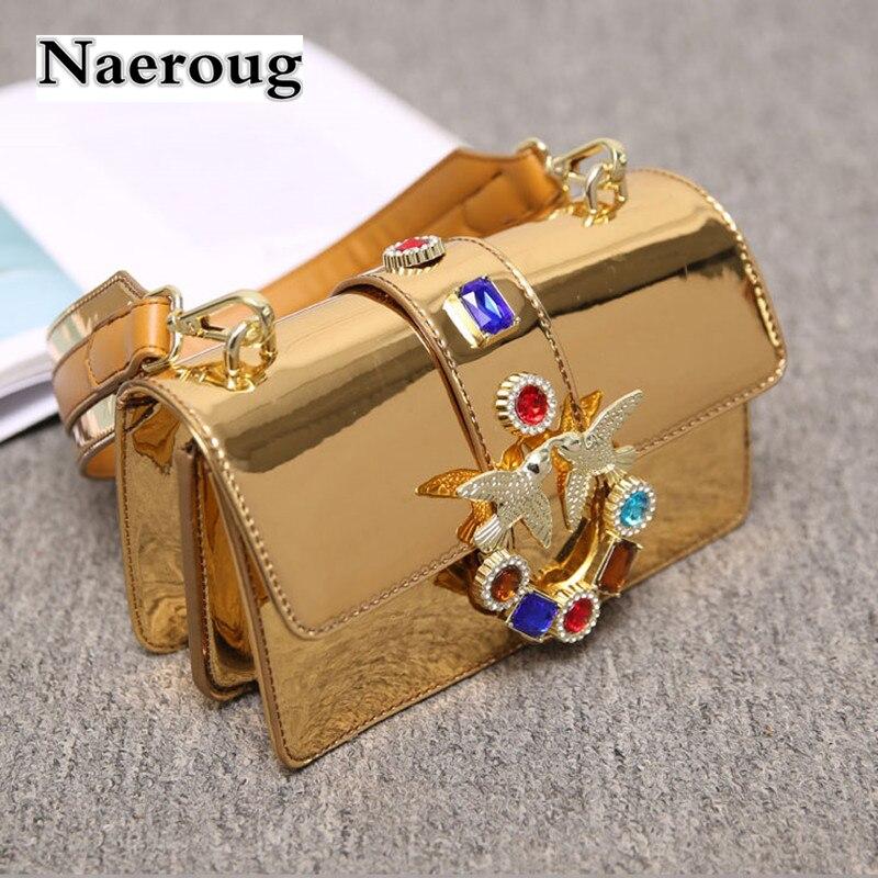 все цены на Fashion Ladies Swallow Chain Shoulder Bag Luxury Colorful Diamond Women Messenger Bags High Quality Designer Handbags Sac A Main онлайн