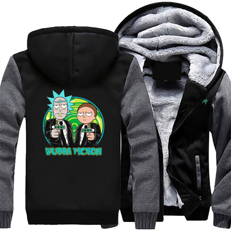 USA SIZE Cartoon Rick and Morty Mens Hoodies Sweatshirts Winter Fleece Thicken Hoody Coats Men Jackets Unisex Clothes Free ship