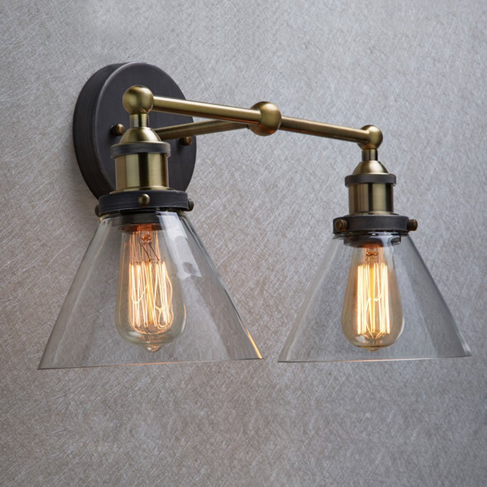 Vintage Retro Industrial Edison Antique Clear Glass 2-Light Adjust Wall lamp Cafe Bar Coffee Shop Club edison vintage style e27 copper screw rotary switch lamp holder cafe bar coffee shop store hall club