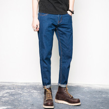 Fashion simple male ankle-length denim pants mens pure color mid waist slim fit casual cropped jeans trousers