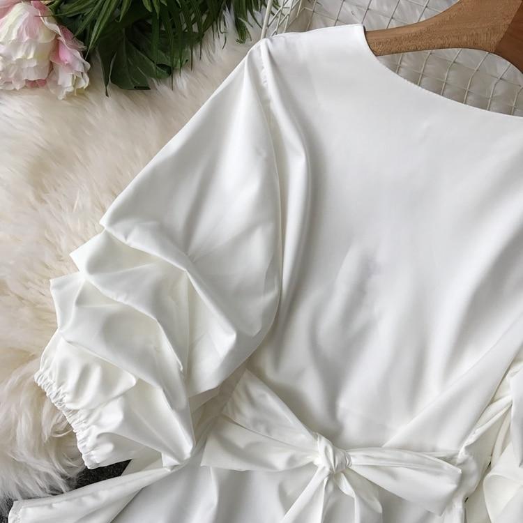 2109 Spring Women V-neck Puff Sleeves Blouse Slim Tunic Tops Retro Vintage Pullovers Busos Para Mujer Kimonos 100